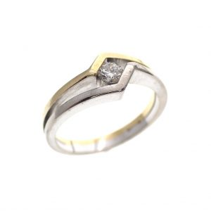 bicolor gouden ring diamant zigzag