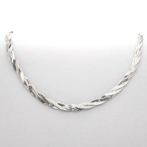 zilveren gevlochten ketting collier