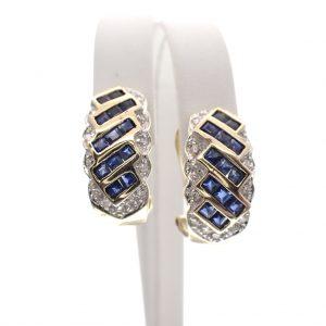 gouden oorstekers met saffier en diamant