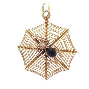 gouden spinnenweb hanger