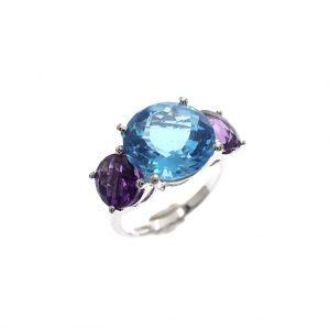 zilveren ring met grote stenen