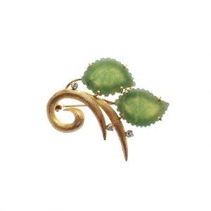 gouden broche met jade
