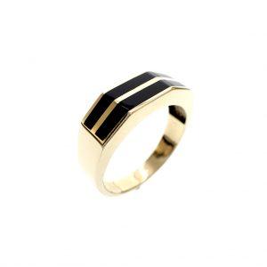 gouden heren ring met onyx