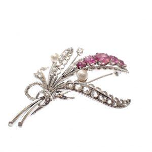 dames broche witgoud diamant