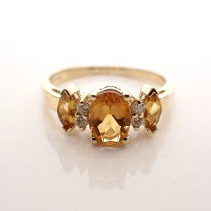 gouden dames ring met citrien