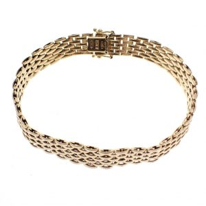 gouden brede schakelarmband