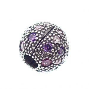 pandora clip bedel zirconia paars roze