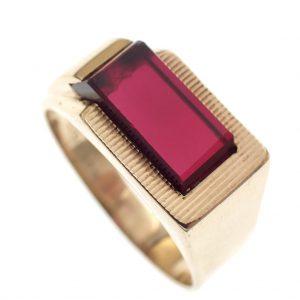 gouden heren ring robijn
