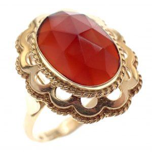 vintage gouden ring chalcedoon