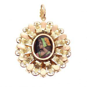 Antiek gouden kettinghanger portret