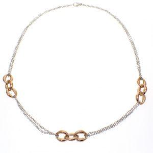 bicolor dames collier goud
