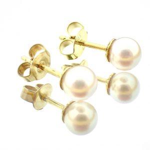 gouden oorstekers parel
