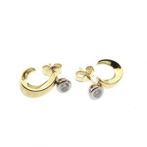 bicolor oorstekers met diamant