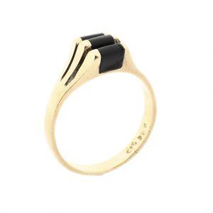 Gouden ring met onyx stenen